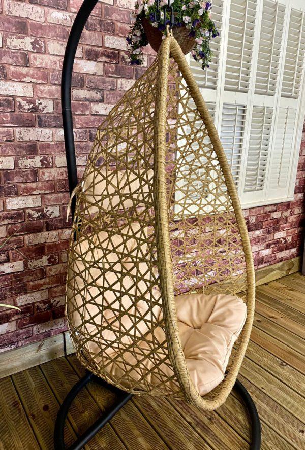 beige egg chair side